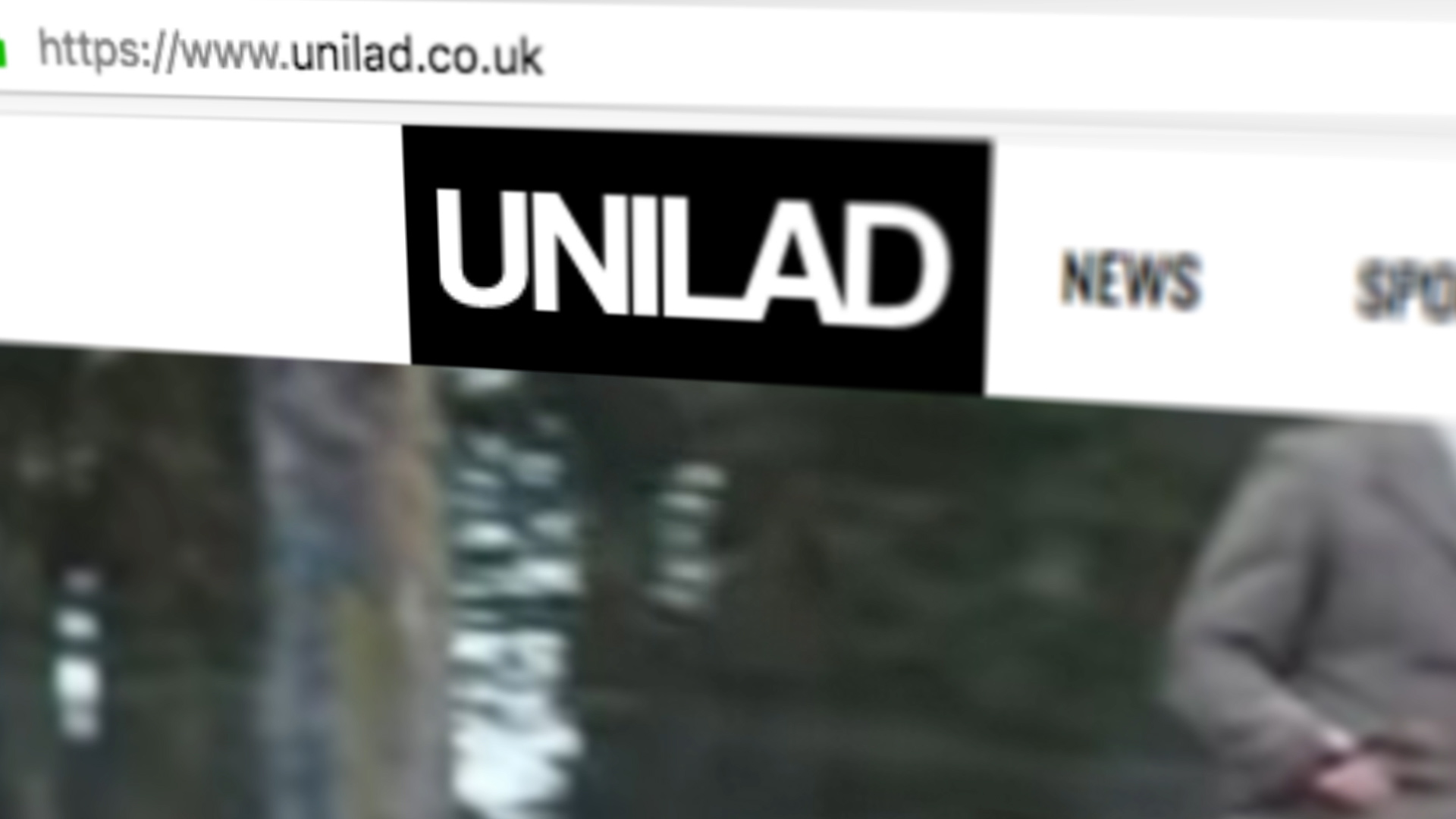 Image of UNILAD homepage on website featuring logo