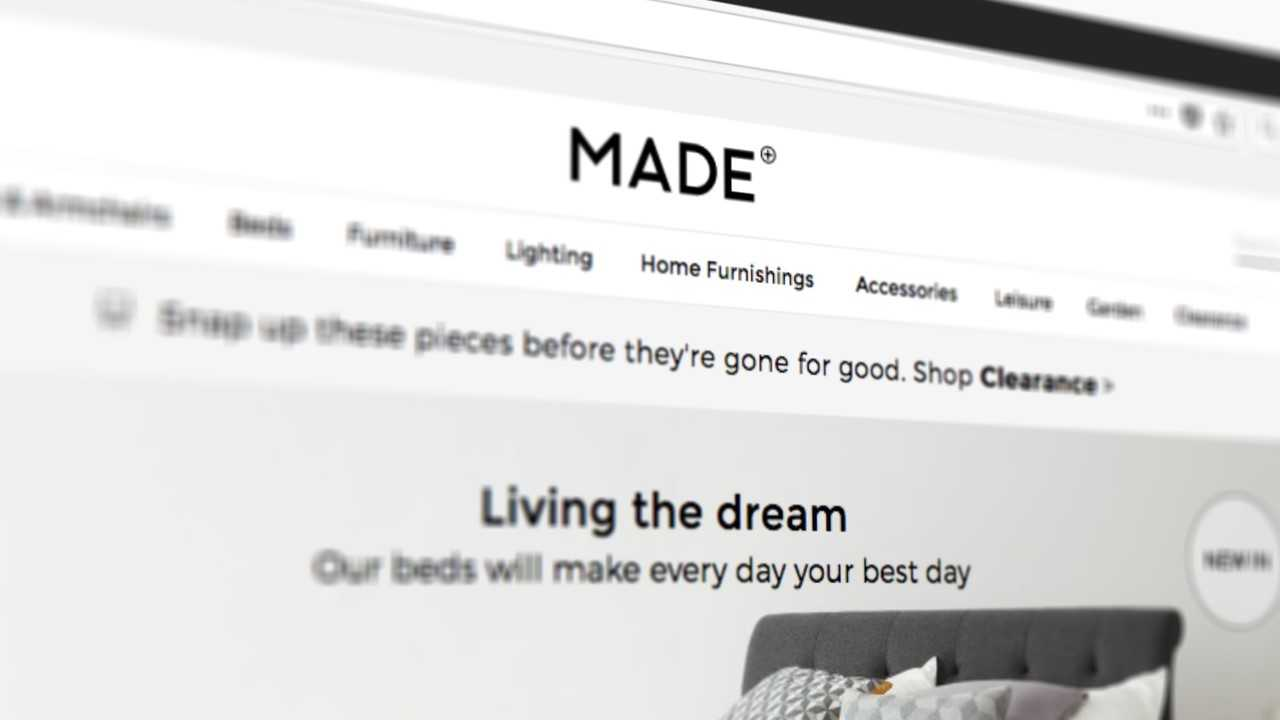 Made.com website homepage image featuring bed